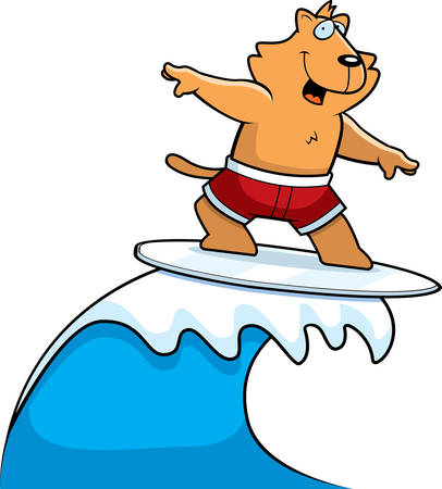 A happy cartoon cat surfing and smiling.
