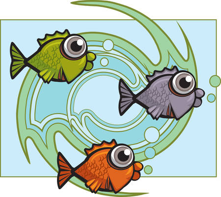 A group of cartoon fish swimming underwater.