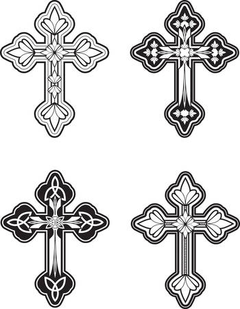 A group of ornate Celtic cross designs. Ilustração