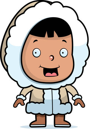 A happy cartoon Eskimo child standing and smiling.