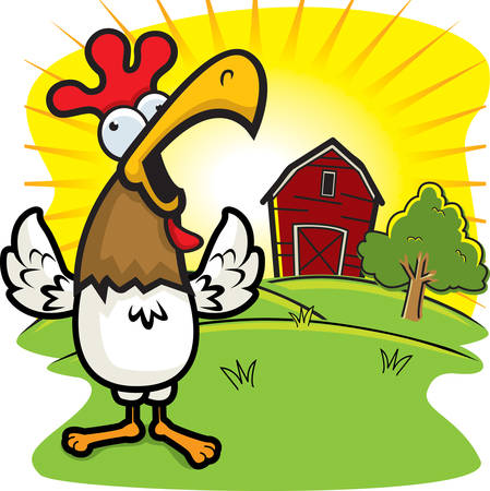 squawk: A cartoon rooster on a farm crowing. Illustration