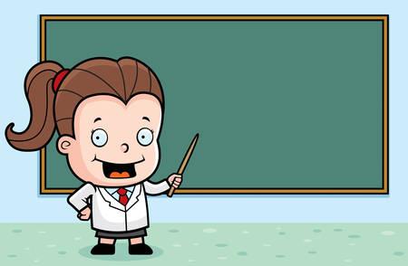 A happy cartoon professor child at a chalkboard.