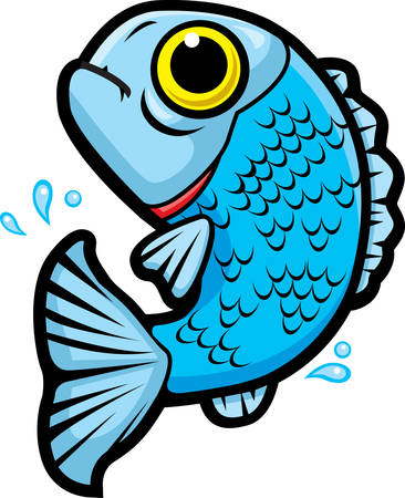 A cartoon fish jumping out of the water.
