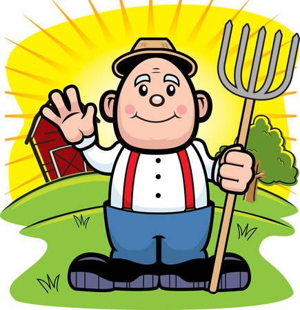A cartoon farmer on a farm waving. Illusztráció