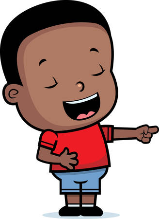 A happy cartoon boy laughing and smiling.