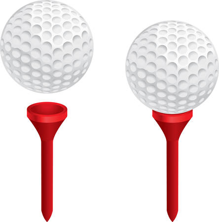 A white golf ball on a red golf tee.