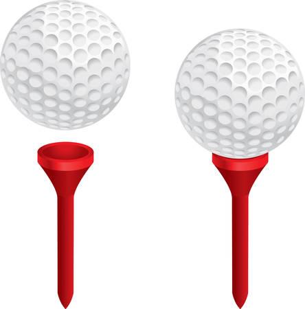 Een witte golfbal op een rode golf tee. Stock Illustratie
