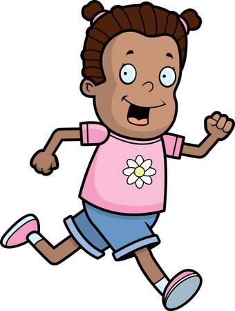 Een happy cartoon meisje lopen en glimlachen.