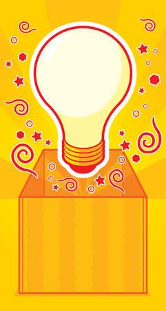 A cartoon light bulb outside of the box. Illustration