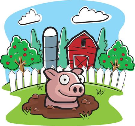 A cartoon pig on a farm in mud.