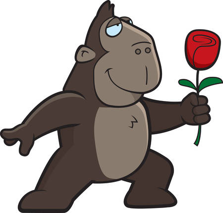 ape: A happy cartoon ape with a red flower. Illustration