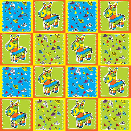 pinata: A seamless repeating cartoon pattern with a pinata. Illustration