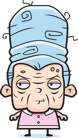 A cartoon grandma with big blue hair. Ilustrace
