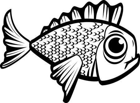 魚の黒と白の漫画イラスト。 写真素材 - 41695027