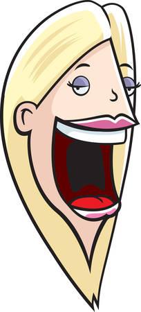 Una mujer de dibujos animados con una gran boca. Ilustración de vector