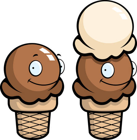 A cartoon ice cream cone smiling and happy. Иллюстрация