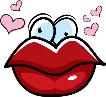 Big cartoon red lips surrounded by hearts. Vettoriali