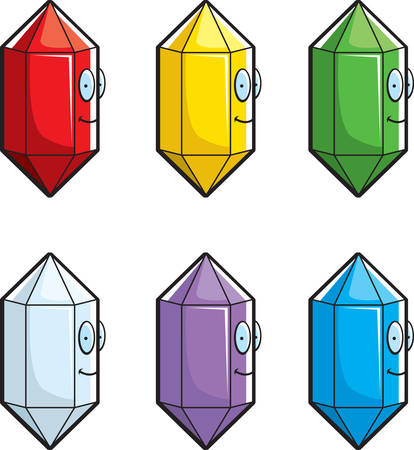 A variety of different colored gems or jewels. Ilustrace