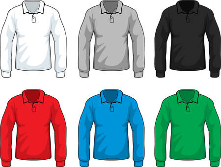 variety: A variety of different colored long sleeve shirts.