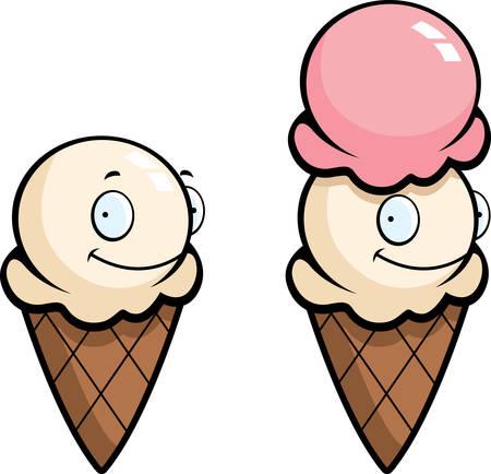 helado caricatura: Un cono de helado de la historieta que sonríe y feliz. Vectores