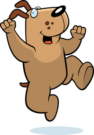 hurray: A happy cartoon dog jumping and smiling.