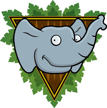 A happy cartoon elephant on a safari background.