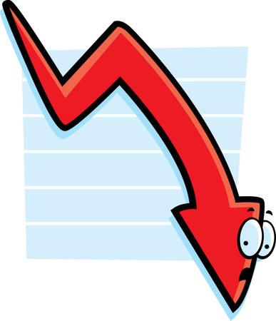 추락하는 만화 붉은 그래프 화살표. 일러스트