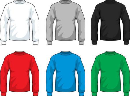 Een verscheidenheid van verschillende gekleurde shirts met lange mouwen.