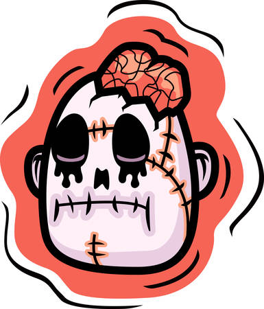 undead: A cartoon undead zombie head illustration.