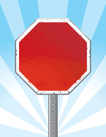 chipped: An illustration of a blank stop sign.