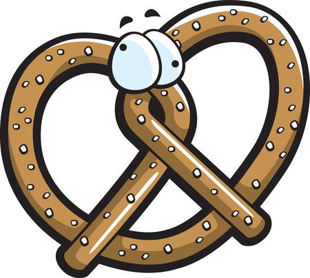 knotted: A cartoon brown pretzel with eyes.