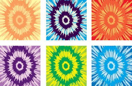 An illustration of a variety of different colored tie-dye backgrounds. Illustration