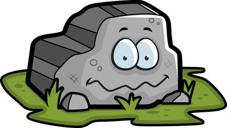 A cartoon gray rock smiling and happy. 向量圖像