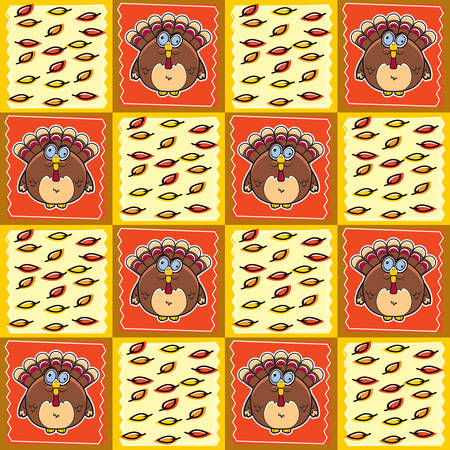 gobbler: A seamless repeating cartoon pattern with a Thanksgiving theme. Illustration