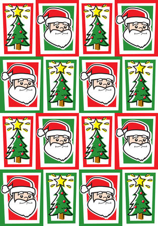 christmas theme: A seamless repeating cartoon pattern with a Christmas theme.