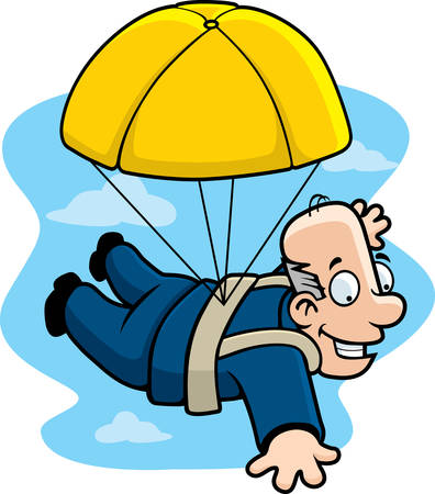 A cartoon businessman with a golden parachute.