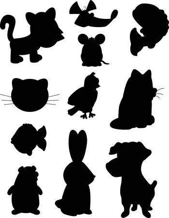 A variety of different cartoon pet silhouettes.