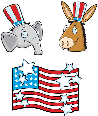 republican party: A cartoon donkey and elephant political characters.