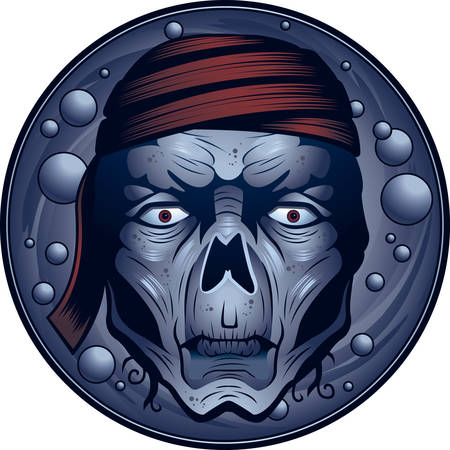 shipwreck: An illustration of a undead pirates face and head.
