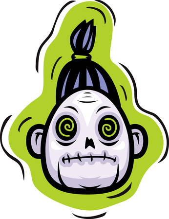 undead: A cartoon undead zombie head illustration.