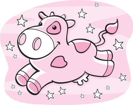 vacas lecheras: Una vaca de la historieta que sonr�e en la V�a L�ctea.