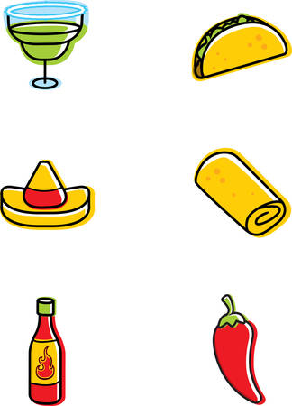 A variety of different Mexican food icons.