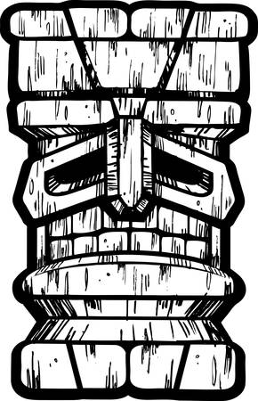 A black and white illustration of a tiki idol. Illustration