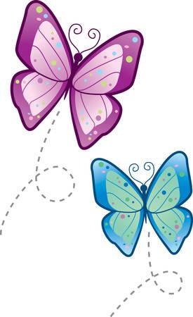mariposas volando: Dos mariposas de dibujos animados volando en el aire.