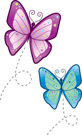 butterflies flying: Two cartoon butterflies flying in the air.