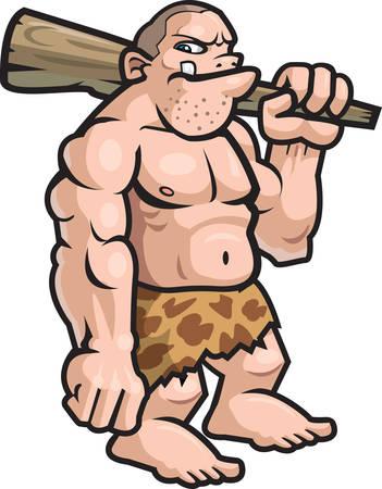 A big cartoon caveman with a club.