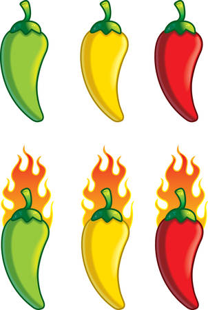 A variety of different colored cartoon peppers.