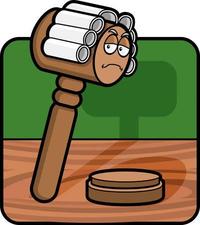 peluca: Un martillo de la historieta vestido como un juez.