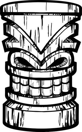 island clipart: A black and white illustration of a tiki idol. Illustration