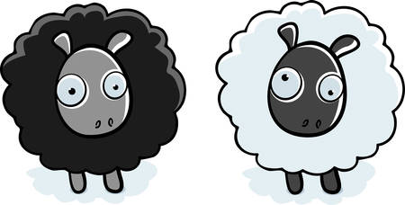 A cartoon black sheep and white sheep standing.